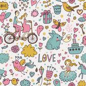 Nice romantic seamless pattern — Stock Vector
