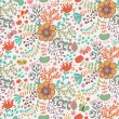 Stock Vector: Seamless pattern with flowers and butterflies