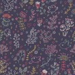 Vintage floral seamless pattern in dark colors - Stock Vector