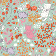Royalty-Free Stock Vectorielle: Romantic floral valentine pattern with angel cats and butterflies. Seamless tiling