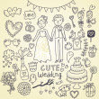 Wedding doodle sketchy vector illustration — Vector de stock #24637219