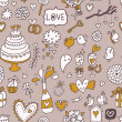 Wedding cartoon seamless pattern with celebration elements - Stock Vector