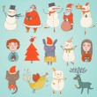 Cute Set of Vector christmas characters — Stockvektor