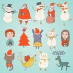 roztomilá sada vektorové vánoční postavy — Stock vektor