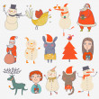 Christmas set. Cartoon characters in holiday style — Stock Vector