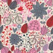 Floral vintage seamless pattern with bicycle — Stock Vector