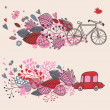 Concept background with bicycle ang car - Stock Vector