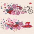 Concept background with bicycle ang car — Imagen vectorial