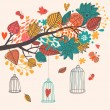 Romantic floral background with cartoon birds. Branch with autumn leaves — Stock Vector