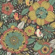Floral seamless pattern with cute birds. Colorful background can be used for textile design, website design, wedding invitation — Векторная иллюстрация