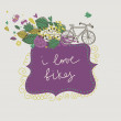 Floral frame background with bike — Stock Vector