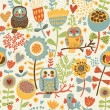 Cute colorful floral seamless pattern with owl and bird - Stock Vector