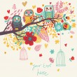 Funny cartoon illustration, trendy card with owls sitting on the brunches — 图库矢量图片