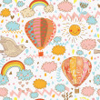 Cute seamless pattern with hot air balloons, bird and clouds — Stock Vector