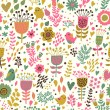 Royalty-Free Stock Vector Image: Retro garden seamless pattern, flowers and birds