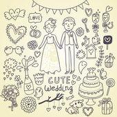 Wedding doodle sketchy vector illustration — Stock Vector