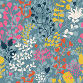Retro floral seamless pattern in bright colors — Stock Vector