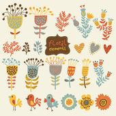La main des éléments floraux vintage dessinés avec des oiseaux. ensemble de fleurs. — Vecteur