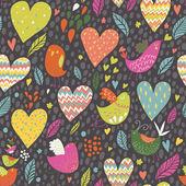 Seamless mönster med roliga fåglar och stora hjärtan — Stockvektor