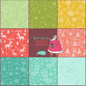 Set of christmas patterns (seamlessly tiling). Can be use for Christmas card design — Stock Vector
