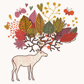 Cartoon autumn background with deer and flowers — Stock Vector