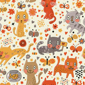 Funny seamless texture with cats and butterflies. Endless floral pattern.Seamless pattern can be used for wallpaper, pattern fills, web page background,surface textures. — Stock Vector