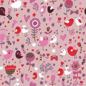 Romantik çiçek seamless modeli ile şirin kuşları — Stok Vektör