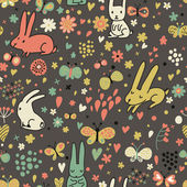 Floral seamless pattern with rabbits and butterflies — Stock Vector
