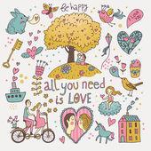 Romantic vector set in cartoon style. Fantasy about love in vector — Stock Vector