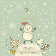 Cartoon Christmas background for nice holiday cards with cute Snowman. New Year vector banner - Stock Vector