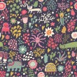 Children's background. Cartoon seamless pattern in bright colors - Stockvectorbeeld