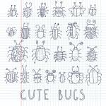 Cute bugs. Cartoon vector set — Stock Vector