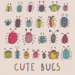 Cute bugs. Cartoon insects in vector set - Stock Vector