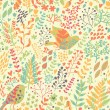 Birds in nature. Vintage floral seamless pattern in bright colors in vector. — Stock Vector