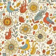Vintage birds in retro flowers. Seamless pattern in vector — Vektorgrafik