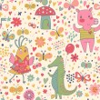 Cartoon seamless pattern for children's wallpapers. Cute pigs, crocodiles, birds and insects in vector — Stock Vector