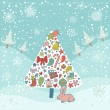 Concept holiday card. Christmas tree made of gifts in winter forest in cartoon style with a small cute hare - Stock Vector