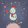 Stock Vector: Magic Christmas background. Cartoon snowman