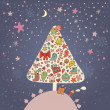 Concept holiday background in cartoon vector. New Year tree in vintage style — Vettoriali Stock