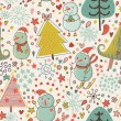 Winter seamless pattern in cartoon style. Funny Christmas background with snowmen - Stock Vector