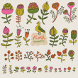 Floral set in vector. Cartoon flowers in pastel colors for nice designs — Imagen vectorial