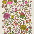 Vintage floral seamless pattern. Nature background in retro colors - Stok Vektör