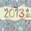 New 2013 Year concept background in cartoon style — Stock Vector