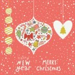 Christmas concept background. Cartoon New Year card — Stockvectorbeeld