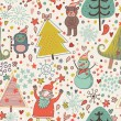 The texture of the Christmas trees and cute cartoon characters. New year seamless pattern.winter design — Stock Vector