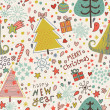 Nice cartoon seamless pattern. Christmas background in vector — Stock Vector