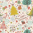 Nice cartoon seamless pattern. Christmas background in vector — Stock Vector #24645075