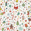 New year cartoon seamless pattern. Cute holiday wallpaper in vector — Stock Vector