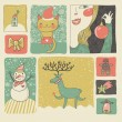 Retro Christmas and New Year set in vector. Cute cartoon style — Vettoriali Stock