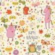 Cartoon seamless pattern in vector. Funny animals in flowers - Stock Vector